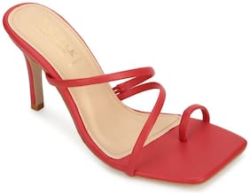 Truffle Collection Women Red Heeled Sandals