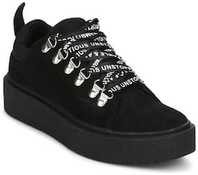 Truffle Collection Black Suede Lace-Up Sneakers