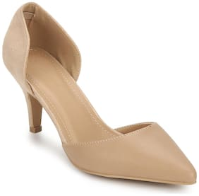 Truffle Collection Beige-Beige Micro Low Block Stiletto Heels