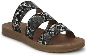 Truffle Collection Black Snake PU Strappy Slip On Flats
