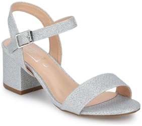 Truffle Collection Silver Block Sandals For Women