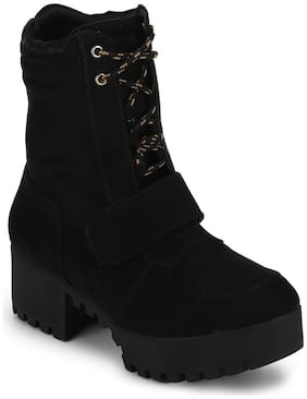 Truffle Collection Black Suede Cleated Bottom Low Heel Ankle Boots