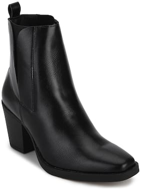 Truffle Collection Black Synthetic Low Block Heel Ankle Boots