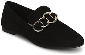 Truffle Collection Black Micro Golden Chain Loafer