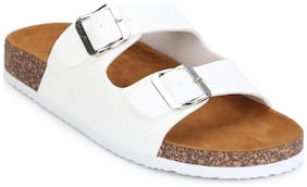 Truffle Collection White Double Buckle Brown Platform Slip-on Flats
