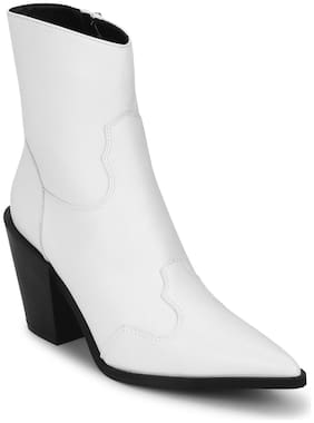 Truffle Collection White Pu Ankle Length Block Heel Boots