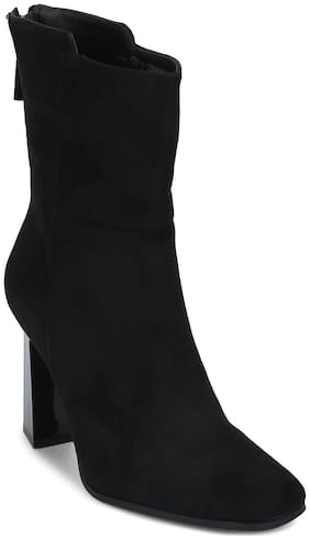 Truffle Collection Black Micro Zipper Ankle Length Boots