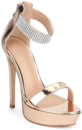 Truffle Collection Golden Stiletto Sandals For Women