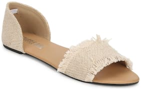 Truffle Collection Beige D'orsay Slip-on Flats
