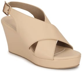 Truffle Collection Nude PU Wedges With Crossover Straps