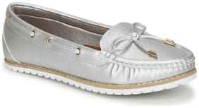 Truffle Collection Silver PU Flat Belly Shoes