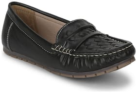 Truffle Collection Black PU Loafers With Weaves