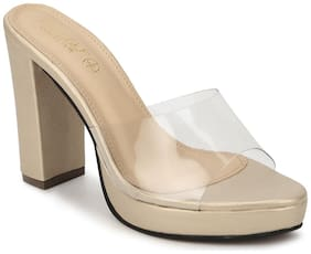 Truffle Collection Gold Perspex PU Block Heel Mules