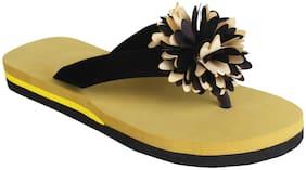 tryfeet Black Velvet Flip Flops For Womens & Girls