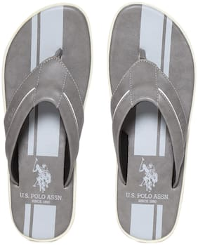 U.S. Polo Assn. PU Grey Flipflop For Men(Grey Broad V-Strap Printed Flip Flops)