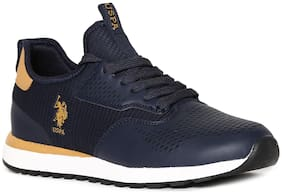 U.S. Polo Assn. Blue Mid Top Laser Cut Sneakers