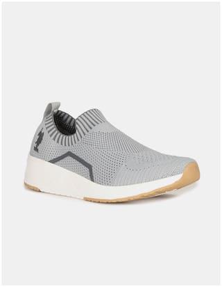 U.S. Polo Assn. Men Grey Casual Shoes - MEN GREY CONTRAST SOLE KNIT SLIP ON SHOES - 2532014707