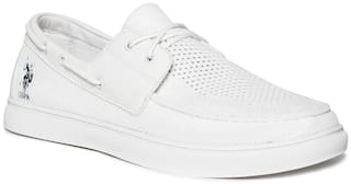 U.S. Polo Assn. Men White Casual Shoes - WHITE MESH UPPER LOW TOP BOAT SHOES - 2531942601