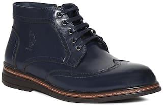 U.S. Polo Assn. Men Blue Ankle Boots - BLUE WINGTIP LACE UP BOOTS - 2531914079