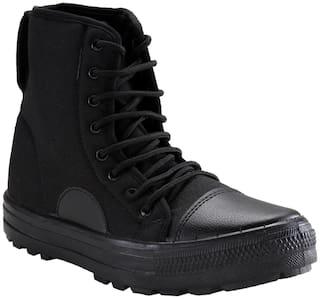 Unistar Men Black Ankle Boots - HIGH ANKLE
