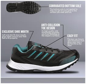 Unistar Black & Sea Green Sports Shoes- Running Shoes - Training Shoes - Extra Comfort InnerSole