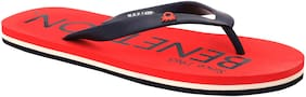United Colors Of Benetton Mens Flip Flop Red / Navy-