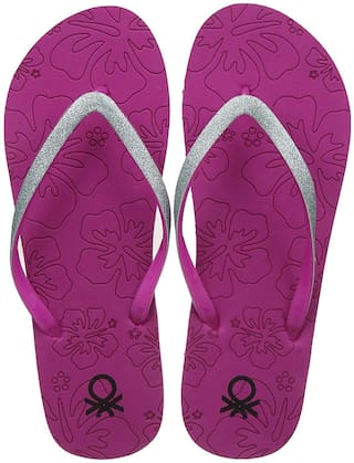fce88d6cdb42 Buy United Colors of Benetton Women s purple Flip Flops Online at ...