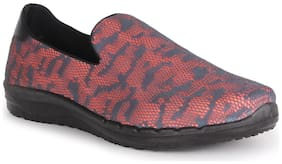 Ustep Coral & Grey Casual Round Toe Slip On Shoes for Women