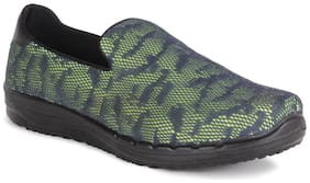 Ustep Green & Grey Casual Round Toe Slip On Shoes for Women