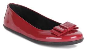 Ustep Red Casual Round Toe Ballerinas for Women