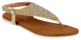 V STRAP GOLDED BEADED SANDALS BY BERRY PURPLE