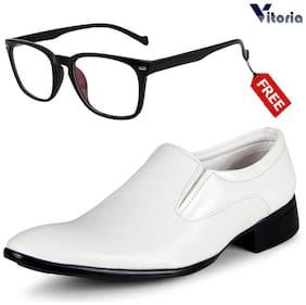 Men White Slip-On Formal Shoes