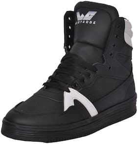 Westcode Mens s Synthetic leather High Top Casual Sneaker Online Shoes 9017 -White-Black-10