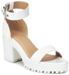 White Box Cleated Bottom Ankle Strap Block Heels