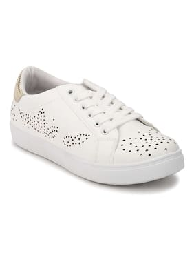 Truffle Collection White-Golden PU Textured Lace-Up Sneakers