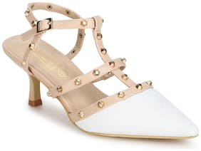 Truffle Collection White Nude Studded Strappy Kitten Heels