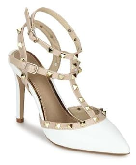 2bd54dc2a67 Truffle Collection White Nude Studded Strappy Stiletto Heels