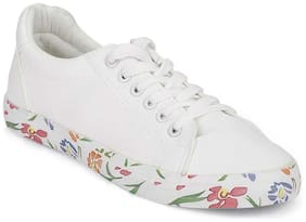 Truffle Collection White Printed Platform Lace-Up Sneakers