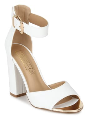 3bada8e2b2a Truffle Collection White PU Ankle Strap Block Heels