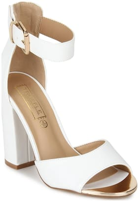 Truffle Collection White PU Ankle Strap Block Heels