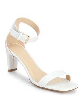 98575e6c2 White PU Ankle Strap Low Slim Block Heels