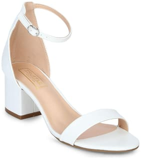Truffle Collection White PU Ankle Strap Kitten Block Heels