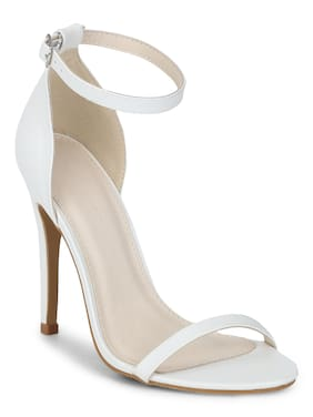 c2bdfae2b White PU Barely There Stilettos Synthetic