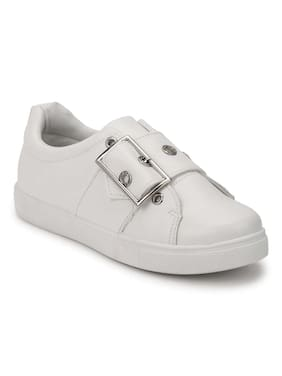 Truffle Collection White PU Big Buckle Lace-Up Sneakers