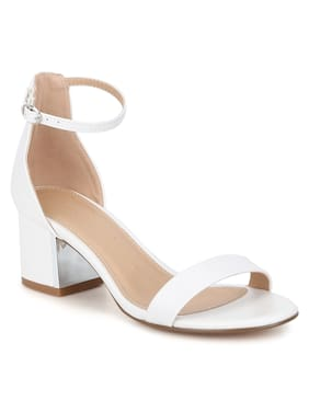ffbe1396e White PU Double Shaded Low Block Heels