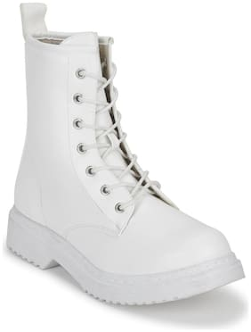 White PU Lace-Up Biker Ankle Boots