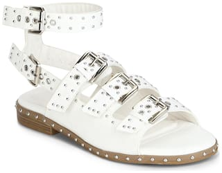 Truffle Collection White PU Multiple Buckle Studded Flat Sandals