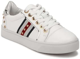Truffle Collection White PU Pearl Detailing Lace-Up Sneakers