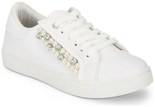 Truffle Collection White PU Pearl Detail Lace-Up Sneakers