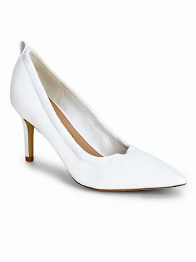 a528b1340fc8 Truffle Collection White PU Pointed Toe Pump Stilettos